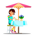 teen girl eating chinese noodles isolated vector image