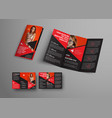 template black tri-fold brochure with triangular vector image vector image