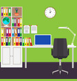 the home workplace of the businessman desk laptop vector image vector image