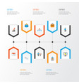 trade flat icons set collection of envelope work vector image vector image