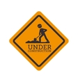 under construction signal road yellow design vector image