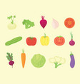 vegetable set collection with various kind and vector image vector image