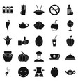 vegetarian restaurant icons set simple style vector image vector image