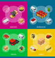 warehouse concept banner set 3d isometric view vector image