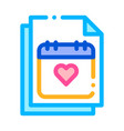 wedding day on calendar page sign icon vector image