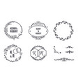 wedding elegant monograms round frames and vector image vector image