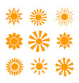 yellow sun icon set isolated on white background vector image vector image
