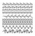 Hand drawn floral line borders vector image