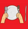 Hands Holding Spoon Fork Knife vector image