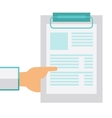 Hand holding clipboard with blank sheet of paper vector image