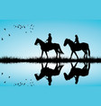 a couple on a horse ride vector image vector image