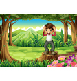 a happy boy above stump at forest vector image vector image