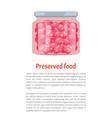 berry jam or fruit compote in glass screw-cap jar vector image