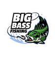 big bass fishing mascot logo vector image vector image