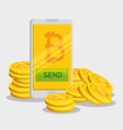 bitcoin currency and smartphone exchange virtual vector image