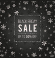 black friday sale banner design with snowflakes vector image