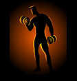 bodybuilder lifting dumbbells vector image vector image