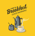 breakfast banner with cup and kettle or coffee pot vector image