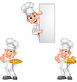 cartoon chefs collection set vector image vector image