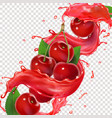 cherry juice splash for advertising realistic vector image vector image