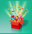 christmas sweet gift box explosion of paper vector image