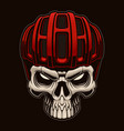 colorful a skull in cyclist helmet on dark vector image vector image