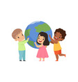 cute multicultural little kids standing around the vector image vector image