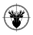 deer head silhouette in optical sight vector image