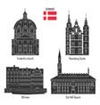 denmark set landmark icons vector image vector image