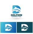 dolphin swimming pool logo design vector image