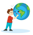 earth day happy boy hugging planet ecology vector image