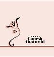 elegant happy ganesh chaturthi festival greeting vector image vector image
