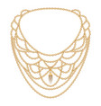fashion golden necklace icon cartoon style vector image
