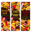 fast food restaurant banner with takeaway lunch vector image vector image
