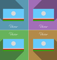 Flags Sakha Republic Set of colors flat design and vector image