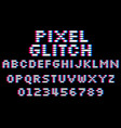 glitch pixel font set 8 bit style latin vector image vector image