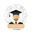 graduation logo template design elements icon guy vector image