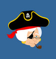 grandmother pirate old buccaneer grandma smoking vector image vector image
