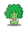 grinning broccoli chracter cartoon style vector image vector image