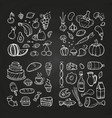 hand drawn healhty and fast food doodle vector image