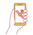hand holding smartphone gps navigation satellite vector image vector image