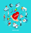 isometric digital medical care concept vector image vector image