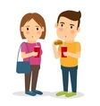 Man and woman with fast food vector image