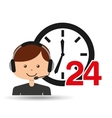 man assitance 24 hours clock vector image