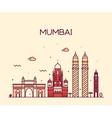 Mumbai City skyline line art vector image vector image