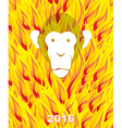 New year 2016 Monkey on flame background Year of vector image vector image