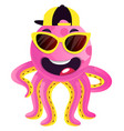 octopus with sunglasses and hat on white vector image vector image