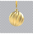 realistic gold christmas tree toy in form a vector image vector image