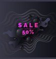 sale poster black drops on a dark background vector image