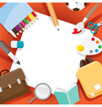 School Supplies Objects On Frame vector image vector image